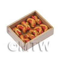 Miniature Hot Dog Wraps In A Wooden Bakers Tray