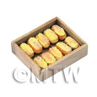 Dolls House Miniature Iced Buns In A Wooden Tray