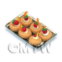Miniature Fruit Topped Cakes On a Tray