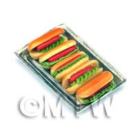 Miniature Jumbo Hot Dogs On A Metal Tray