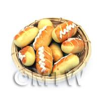 9 Dolls House Miniature Long Iced Buns In A Large Basket
