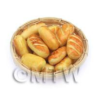 Dolls House Miniature 12 Bread Rolls In A Large Basket