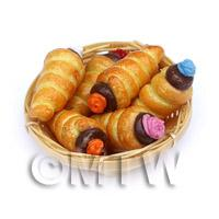 6 Dolls House Miniature Cream Horns In A Small Basket