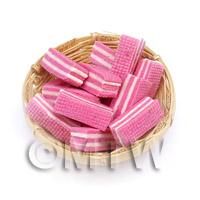 12 Dolls House Miniature Pink Wafers In A Small Basket