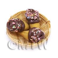 3 Dolls House Miniature Chocolate Marshmallow Cones In A  Basket