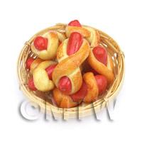 7 Dolls House Miniature Sausage Wraps In A Small Basket