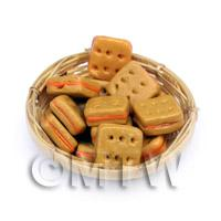 12 Dolls House Miniature Filled Crackers In A Small Basket