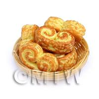 5 Dolls House Miniature Cheesy Swirls In A Small Basket