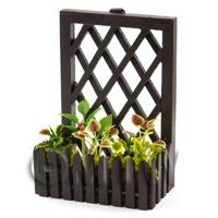 Dolls House Miniature - Handmade Miniature Garden Plants In A Trellis Backed Box Style 1
