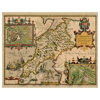 Dolls House Miniature John Speed Aged Caernarvonshire Map