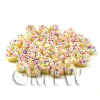 Dolls House Miniature White Iced Glazed Sprinkle Donut