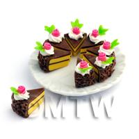 1/12th scale - Dolls House Miniature Whole Sliced Chocolate Rose Cake