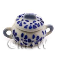 Dolls House Miniature 25mm Blue Spotted Ceramic Serving Pot And Lid