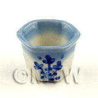 6 Sided Blue And White Miniature Glazed Ceramic Flower Pots