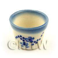 Miniature Glazed Round Ceramic Flower Pot With Blue Flower Design