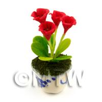 4 Dolls House Miniature Red Flowers In A Blue Pattern Ceramic Pot