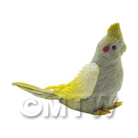 Handmade Dolls House Miniature Grey Cockatiel With Yellow Crown