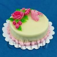 Dolls House Miniature Round Pink Rose Topped Cake