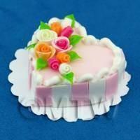 Miniature Pink Cake With Rose Arrangement