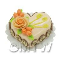 Dolls House Miniature Peach Heat Shaped Cake