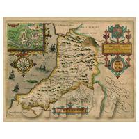 Dolls House Miniature John Speed Aged Cardiganshire Map