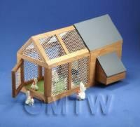 1/12th scale - [EOL]Dolls House Miniature Large Chicken Coop and Run