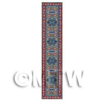 Dolls House Miniature 24cm Red, Blue And Gold Hall Runner (HR2)