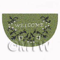 Dolls House 62mm Green Floral Half Moon Welcome Mat (WM14)