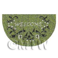 Dolls House 43mm Green Floral Half Moon Welcome Mat (WM19)