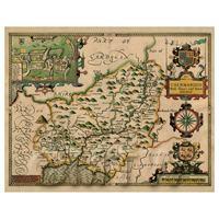 Dolls House Miniature John Speed Aged Caermardenshire Map