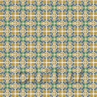 1:12th Yellow And Blue Flower Design Tile Sheet With Black Grout
