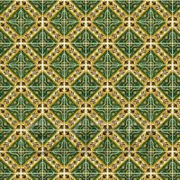 1:12th Large Green Star With Flower Border Tile Sheet With White Grout