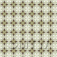 1:12th Brown And Sage Green Design Tile Sheet With Pale Grey Grout