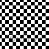 1:12th Classic Black And White Checkerboard Design Tile Sheet