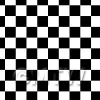 1:12th Classic Black And White Large Checkerboard Design Tile Sheet