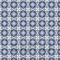 Dolls House Miniature - 1:12th Mixed Blue Ornate Pattern Tile Sheet With Light Grey Grout