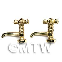 2x Dolls House Miniature Gold Coloured Metal Cross Top Sink Taps