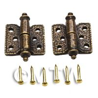 2x Dolls House Ornate Antique Hammered Brass Square Hinges And Screws