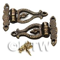 2x Dolls House Miniature Ornate Hammered Brass Arm Hinges And Screws