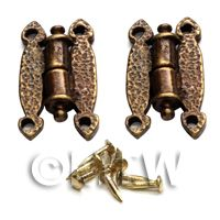2x Small Dolls House Miniature Ornate Hammered Brass Butterfly Hinges