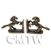 A Pair Of Dolls House Miniature Antique Brass Prancing Horse Book Ends
