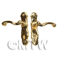 2x Dolls House Miniature 1:12th Scale Brass Door Lever Handles