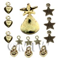 Dolls House Miniature 1:12th Scale Brass Tree Top And 12 Ornaments