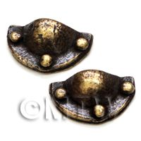 2x Dolls House Miniature 1:12th Scale Antique Brass Mussel Drawer Pulls