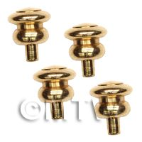 4x 4mm Dolls House Miniature Brass Hourglass Shaped Door Knobs