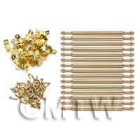 Dolls House Miniature Brass 15 Stair Rods Set With Brackets And Nails