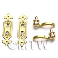 Dolls House Miniature Brass Fleur De Lis Back Plate And Handle Set