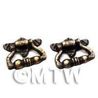 2x Dolls House Miniature Antique Brass Fancy Drawer Pulls