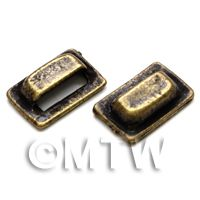 1/12th scale - 2x Dolls House Miniature 1:12th Scale Antique Brass Square Pull Handles