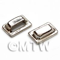 2x Dolls House Miniature Chrome Square Drawer Pull Handles